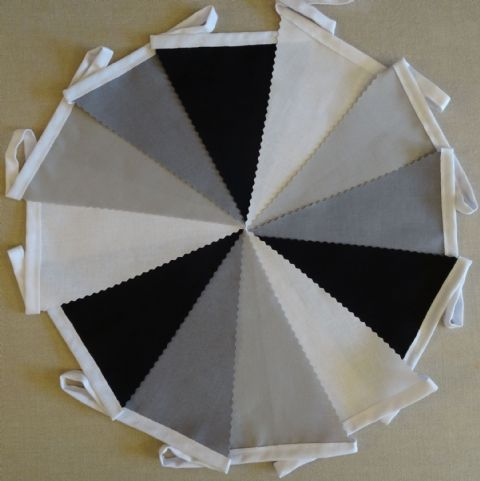 BUNTING Plain White, Black, Dark & Light Grey - 3m, 5m or 10m